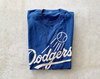 Vintage T-Shirt | DODGERS Baseball Pullover Top Shirt 80's 90's Streetwear Blue White | Size L