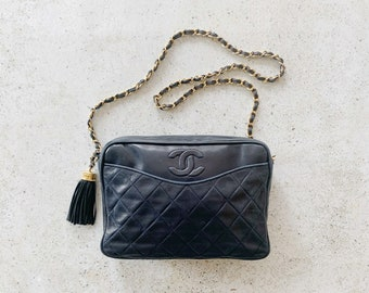Vintage Bag | CHANEL Quilted Camera Matelasse Leather Shoulder Bag Purse CC Logo Monogram 80's Navy Blue Gold