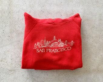 Vintage Sweatshirt | SAN FRANCISCO Hooded Top Pullover Raglan Shirt Sweater Hoodie California Coastal Beach Red White | Size S