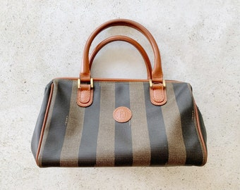 Vintage Bag | FENDI Pequin Stripe 80s Boston Doctor Bag Purse Satchel Neutral Brown Beige Tan
