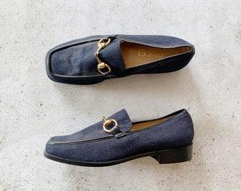 Vintage Shoes | GUCCI Horsebit Canvas Denim Loafers Slides Mules Navy Blue Brass | Size 5.5 US