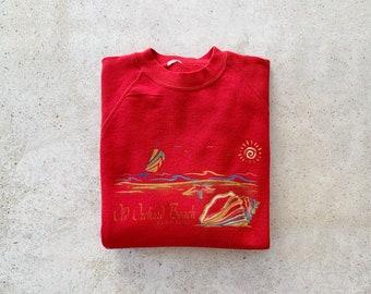 Vintage Sweatshirt   MAINE Old Orchard Beach Coastal Nautical Ocean Raglan Pullover Top Shirt Sweater Red   Size L/XL