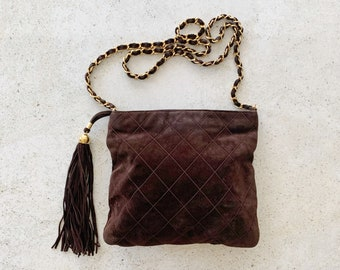 Vintage Bag   CHANEL Quilted Matelasse Suede Crossbody Shoulder Bag Chain Strap 80's 90's Chocolate Brown Gold