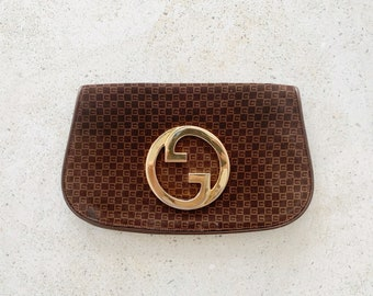 Vintage Bag | GUCCI 70's Blondie Logo Monogram GG Clutch Purse Evening Bag Suede Brown