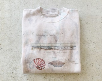 Vintage Sweatshirt | BEACH Raglan Pullover Sweatshirt Coastal Nautical Shells White Gray Blue | Size S