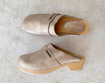 Vintage Shoes | CHANEL Metallic Clogs Mules | Size 38.5 EU / 7.5 - 8 US