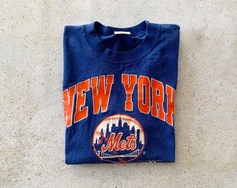 Vintage T-Shirt | NY METS Baseball Sports New York Pullover Raglan Shirt 90's Blue Orange | Size M