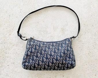 Vintage Bag | DIOR Trotter Logo Monogram Shoulder Bag Purse Blue