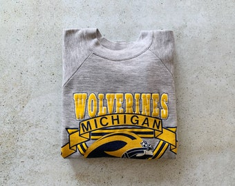 Vintage Sweatshirt | MICHIGAN WOLVERINES 80's Football College University Raglan Pullover Top Shirt Sweater Gray Blue Yellow | Size L