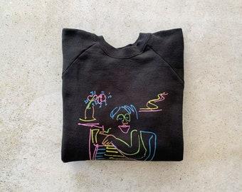 Vintage Sweatshirt | JOHN LENNON Baby Grand Raglan Pullover Top Shirt Sweater Black Neon | Size L