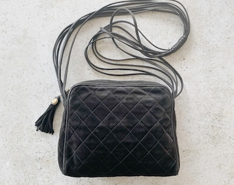 Vintage Bag | CHANEL Quilted Logo CC Suede Shoulder Crossbody Bag Purse Leather Suede Black