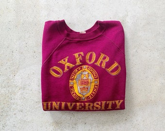 Vintage Sweatshirt | OXFORD UNIVERSITY College Collegiate Pullover Sweatshirt 80s Purple Pink | Size M