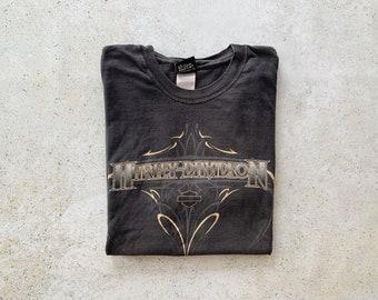 Vintage T-Shirt   HARLEY DAVIDSON Motorcycle Tee Top Shirt Pullover Black   Size M/L