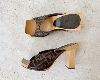 Vintage Shoes | FENDI Zucca FF Monogram Wood Mules | Size 7 US