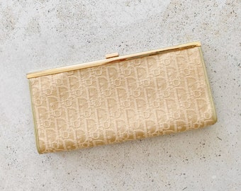 Vintage Bag | DIOR Monogram Logo Trotter Frame Clutch Evening Bag Tan Gold
