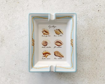 Vintage Dish | HERMÈS Porcelain Ashtray Tray Plate Catchall Beach Seashell Coastal Nautical