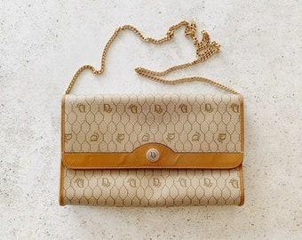 Vintage Bag   DIOR Honeycomb Convertible Two Way Shoulder Bag Clutch Logo Tan Beige Brown Gold