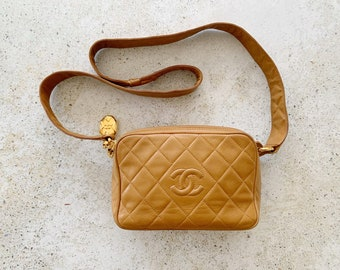 Vintage Bag | CHANEL Quilted Camera Matelasse Shoulder Bag 80's Lambskin Leather Brown Tan Camel Gold Neutral
