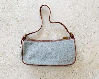 Vintage Bag | CELINE Macadam Logo Monogram Suede Leather Shoulder Bag Blue