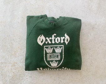 Vintage Sweatshirt | OXFORD University College Raglan Pullover Top Shirt Sweater Green | Size L