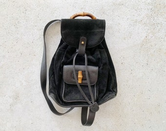 Vintage Bag | GUCCI Mini Backpack Suede Leather Bamboo Black
