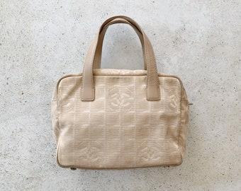 Vintage Bag | CHANEL CC Logo Monogram Sport Line Purse Satchel Tote Clutch Bag Neutral Tan Beige Boho Bohemian