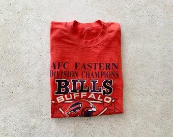 Vintage T-Shirt | BUFFALO BILLS 80's Top Shirt Pullover Football Sports New York Red Blue | Size S/M