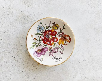 Vintage Dish | GUCCI Flora Floral Trinket Dish Plate Tray 80s Home Decor