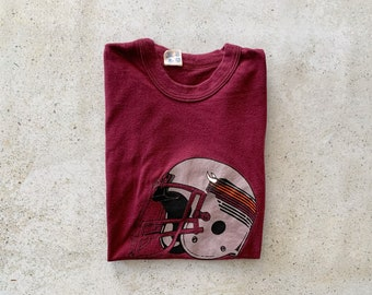 Vintage T-Shirt | JACKSONVILLE Football 80's Pullover Top Shirt Red Burgundy | Size S