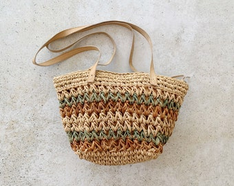 Vintage Bag | STRAW Woven Boho Bohemian Summer Beach Bag Neutral Sand Tan Beige