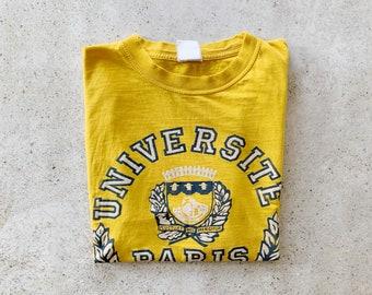 Vintage T-Shirt | UNIVERSITE PARIS Sorbonne Pullover Shirt College University Distressed 80's 90's Yellow | Size M