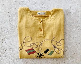 Vintage Sweatshirt | GUCCI Pullover Henley Nautical Coastal Beach Yacht Sailing Montauk Hamptons Summer 80s Sweatshirt Yellow | Size M