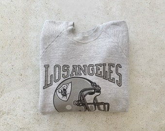 Vintage Sweatshirt | LOS ANGELES RAIDERS Football Raglan Pullover Top Shirt Sweater Sports Gray | Size L