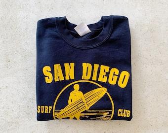 Vintage Sweatshirt | SAN DIEGO Surf Club Pullover Sweatshirt Beach Coastal California Navy Blue Yellow Gold | Size S