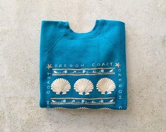 Vintage Sweatshirt | OREGON COAST 80's 90's Beach Coastal Seashell Raglan Pullover Top Shirt Sweater Teal Green Turquoise Blue | Size S