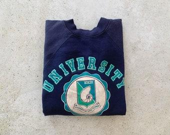 Vintage Sweatshirt   UNIVERSITY WEST FLORIDA Raglan Pullover Top Shirt Sweater College University 80's 90's Blue   Size M/L