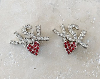 Vintage Earrings | YSL Logo Clip On Earrings Silver Rhinestones Red Heart 90s