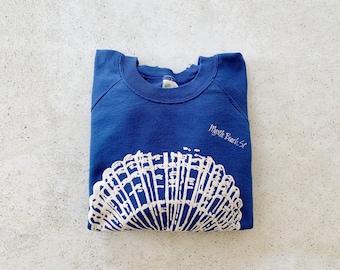 Vintage Sweatshirt | MYRTLE BEACH SC Raglan Pullover Sweatshirt Sweater Seashell Beach Coastal Nautical Summer 80's Blue White | Size M