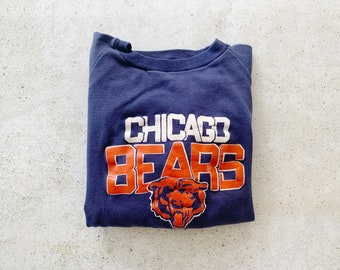 Vintage Sweatshirt | CHICAGO BEARS Pullover Football 80s Sweatshirt Blue Orange | Size S