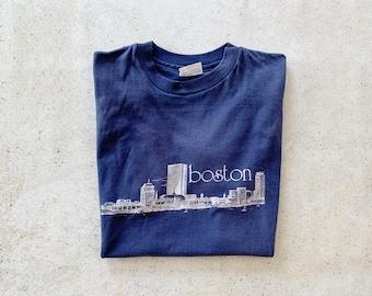 Vintage T-Shirt | BOSTON Cityscape Urban Scenic City Shirt 80's Blue White | Size M