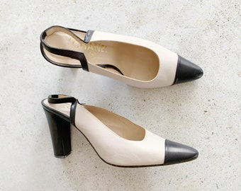 Vintage Shoes | CHANEL Classic Two Tone Slingback Heels Mules | Size 39 EU / 8 - 8.5 US