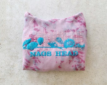 Vintage Sweatshirt | NAGS HEAD NC Raglan Hoodie Pullover Beach Coastal Nautical Seashell Custom Dyed Tie Dye Pink Blue | Size M