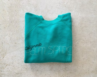 Vintage Sweatshirt | PALM SPRINGS California Raglan Pullover Top Shirt Sweater 80's 90's Desert Teal | Size S/M