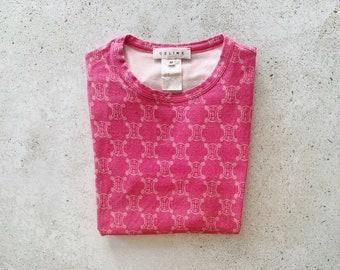 Vintage T-Shirt | CELINE Macadam Logo Print Shirt Pink 90's | Size S