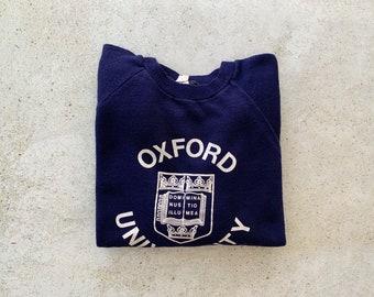 Vintage Sweatshirt | OXFORD UNIVERSITY Raglan Pullover Top Shirt Sweater College Navy Blue | Size S/M