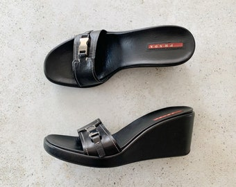 Vintage Shoes | PRADA 90's Wedge Sandals Heels Buckle Leather Black Silver | Size 38.5 EU / 8 - 8.5 US