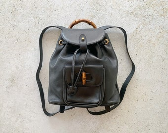Vintage Bag | GUCCI GG Bamboo Leather Mini Backpack Satchel Clutch Shoulder Bag 80's 90's Streetwear Black Gold