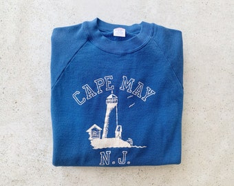 Vintage Sweatshirt | CAPE MAY NJ 80s Coastal Beach Raglan Pullover Sweatshirt Blue White | Size L