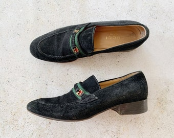 Vintage Shoes | GUCCI Loafers GG Monogram Logo Black Suede 80's | Size 7.5 US