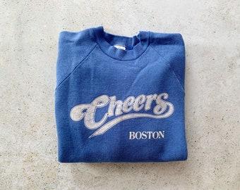 Vintage Sweatshirt   CHEERS BOSTON Raglan Pullover Top Shirt Sweater 80's   Size M